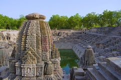 Small shrines and steps to reach the bottom of the reservoir, of the Sun Temple. Modhera village of Mehsana district, Gujarat. India royalty free stock images