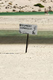 Small sign on the beach, Crete, Greece Stock Photography