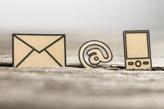 Small At sign, mail and phone symbols Royalty Free Stock Photos