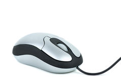 Small silver computer mouse Stock Photo