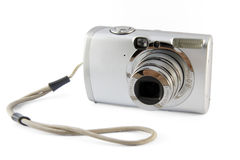 Small silver photo camera Stock Photo