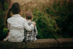 Small sister and brother hugging Stock Photography