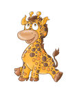 A small sitting giraffe mascot Color illustration for books and fables Stock Photos