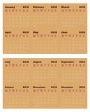 Small size Calendar for 2016, Simple Vector Template Stock Photos
