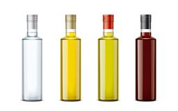Bottles mockups for oil and other foods stock image