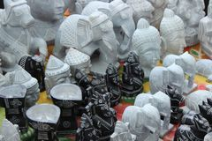 God Statues on sale. Small size of god statues sale on roadside shop in india Stock Photo