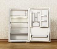 Small size hotel refrigerator standing on parquet floor. 3D illustration.  royalty free illustration