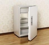 Small size hotel refrigerator standing on parquet floor. 3D illustration.  vector illustration