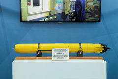 Small-sized underwater scanning sonar. ST.-PETERSBURG - JUL 05: The autonomous self-propelled small-sized underwater vehicle with scanning sonar on International stock images