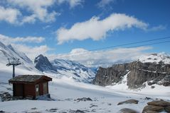 Small ski chalet in winter Royalty Free Stock Images