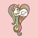 Sleeping unicorn with a long mane. A small sleeping unicorn with a long mane on a pink background. Vector illustration. sweet kids graphics for t-shirts Royalty Free Stock Photos