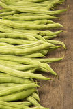 Small and slender green beans (haricot vert) on a wood. Fresh vegetable stock image