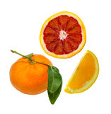 Small sliced Blood Orange, Orange slice and whole Mandarin Stock Photos
