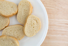 Small slices of French bread on a white plate Stock Photo
