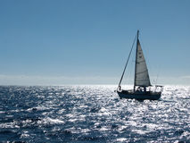Small sloop on a bright sea Stock Image