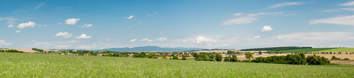 Small Slovak village surrounded by fields Stock Photos