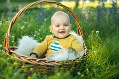 Small smiling childin sitting in a basket Royalty Free Stock Photography