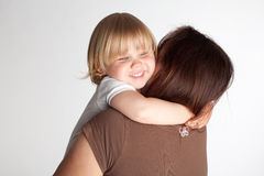 Small smilling, hugging mum young girl Stock Photography