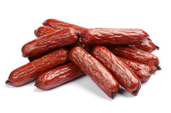 Small smoked sausages Stock Images