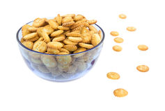 Small snack crackers in blue bowl Royalty Free Stock Image