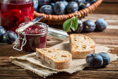 Small snack from plums in the pantry Royalty Free Stock Photo