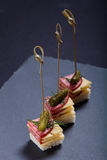 Small snacks canape with salami, cheese and pickle on skewer on Stock Image
