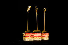 Small snacks canape with salami, cheese and pickle on skewer on Stock Images