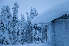 Small Snow-Covered House on the Edge of the Winter Forest Stock Image