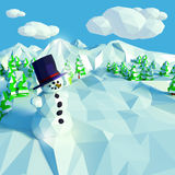 Small snow landscape with fir trees. Small low poly snow landscape with fir trees and snowman Royalty Free Stock Images