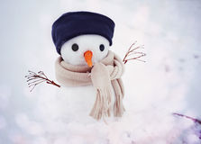 Small snowman in a cap and a scarf on snow in the winter against the background of trees. Royalty Free Stock Image