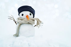 Small snowman in a cap and a scarf on snow in the winter. Stock Photos