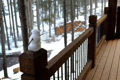 Small Snowman on Railing at Cabin Rustic Stock Images