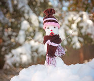 Small snowman in snow with a knitted hat and scarf on toned wit Royalty Free Stock Image