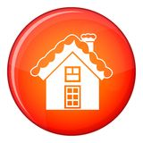 Small snowy cottage icon, flat style Royalty Free Stock Photos