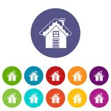 Small snowy cottage set icons Stock Photos