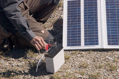 Small solar energy in outdoors Stock Images