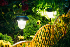Small Solar Garden Light, Lantern In Flower Bed. Garden Design. Royalty Free Stock Images