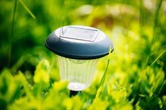 Small Solar Garden Light, Lantern In Flower Bed. Garden Design. Royalty Free Stock Image