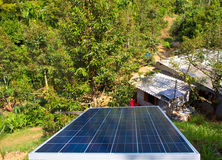 Small solar panel install on hill Stock Image