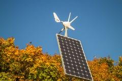 Renewable energy, solar panel. Small Solar panel and rotor, Renewable energy Stock Photos
