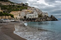 Small southern italian town with a wide beach royalty free stock photos
