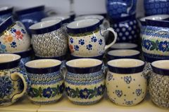 souvenir ceramic jugs painted in blue color royalty free stock image
