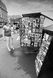 Small souvenir shop counter with postcards in Paris Royalty Free Stock Photos