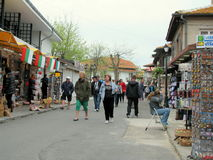 Small souvenir shops in old Nessebar, Bulgaria Royalty Free Stock Photography