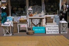 Small souvenir shops on the street Kerkstraat in Zandvoort Stock Images