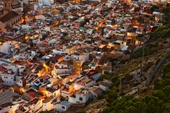 Small spanish city at sunset Royalty Free Stock Image