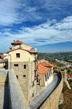 Small spanish Morella town with mountain view Stock Photos