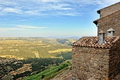 Small spanish old town Ares with mountains view. Royalty Free Stock Image