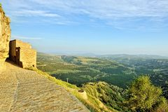 Small spanish old town Ares with mountains view. Stock Images
