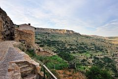 Small spanish old town Ares with mountains view. Royalty Free Stock Photos